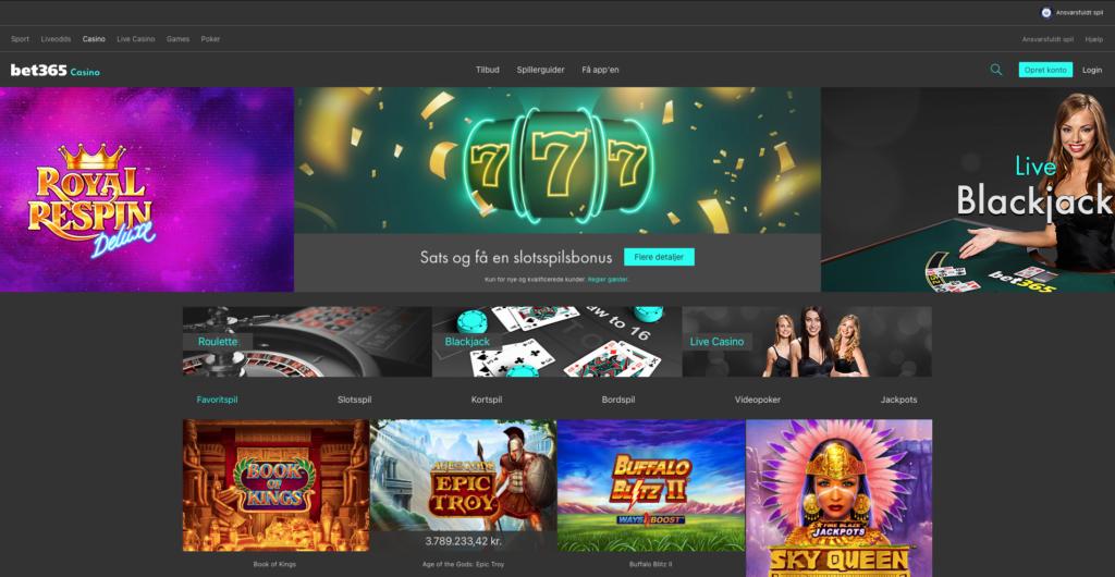 Bet365 Casino forside