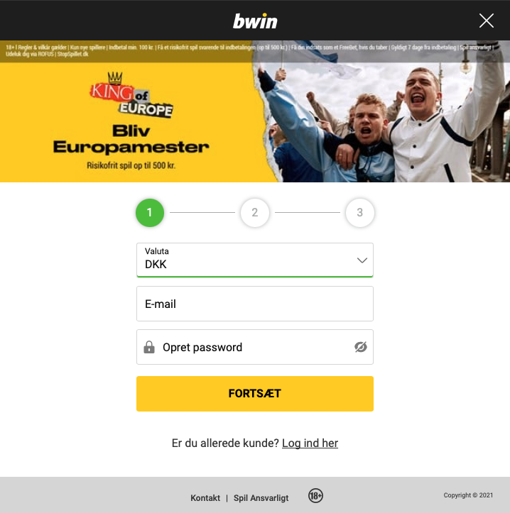 Opret en konto hos Bwin