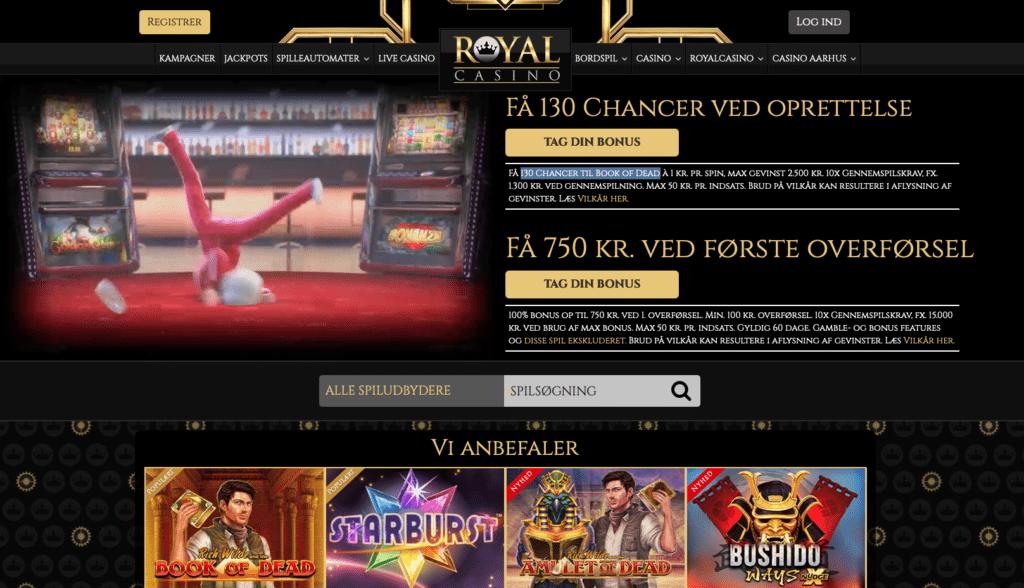 RoyalCasino.dk forside