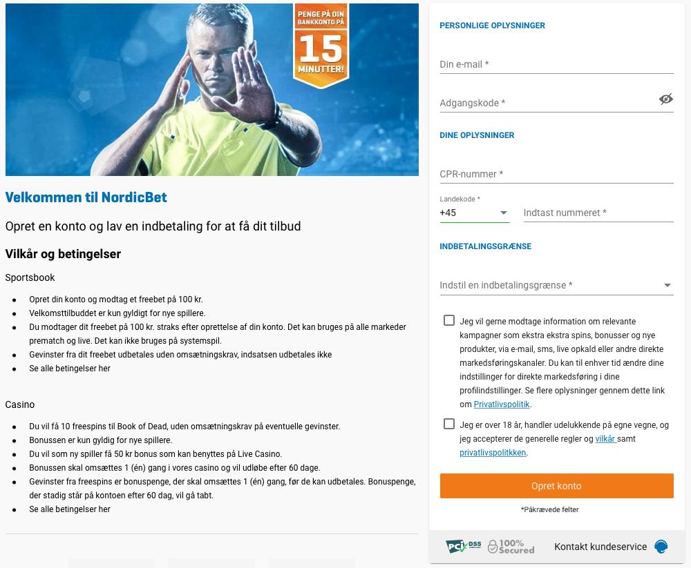 Sådan opretter du dig hos NordicBet