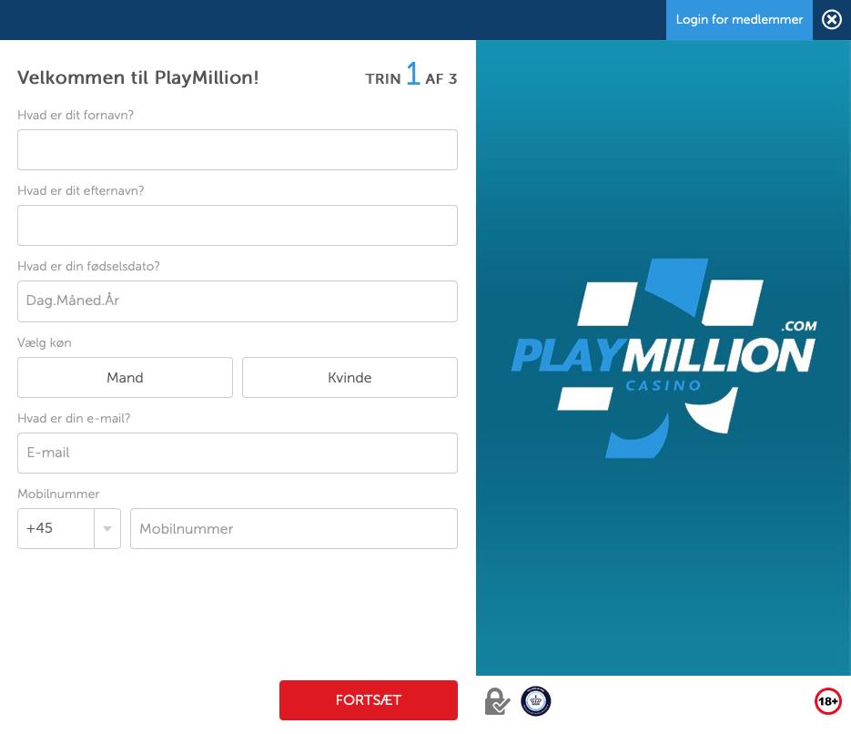 Sådan opretter du en konto på PlayMillion Casino