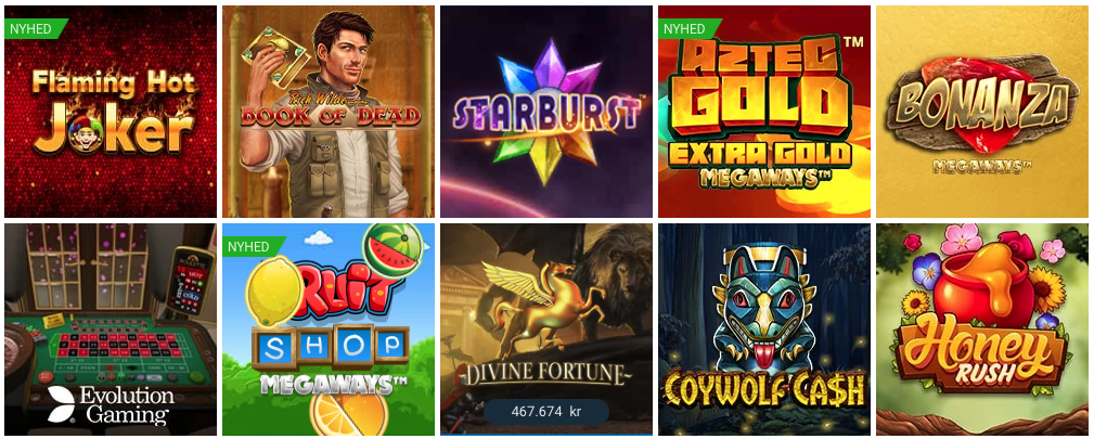 Stort udvalg af spilleautomater på NordicBet Casino