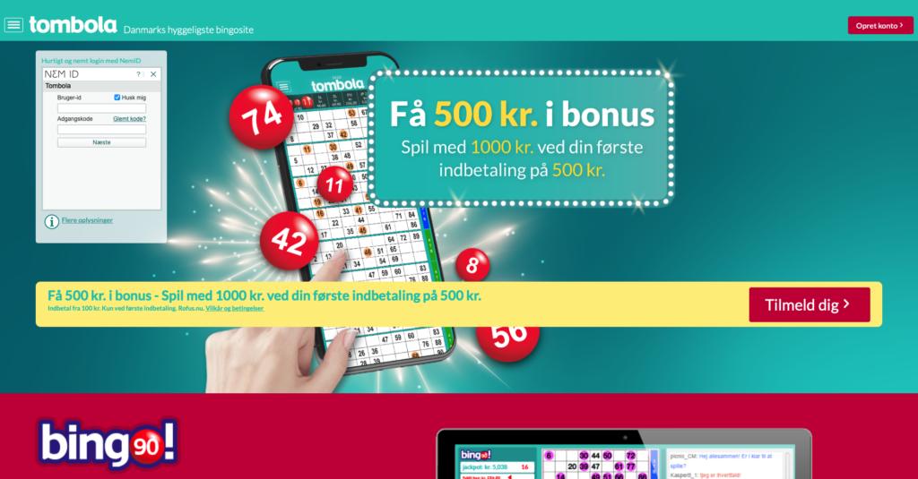 Tombola bingo Danmark forside