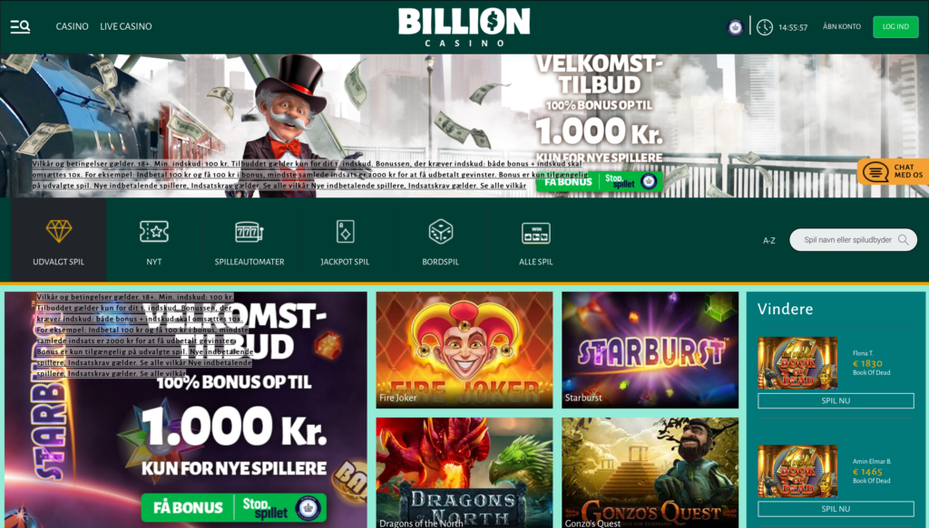 Billion Casino forside