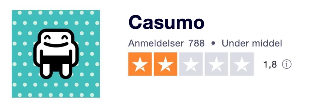 Casumo Trustpilot score