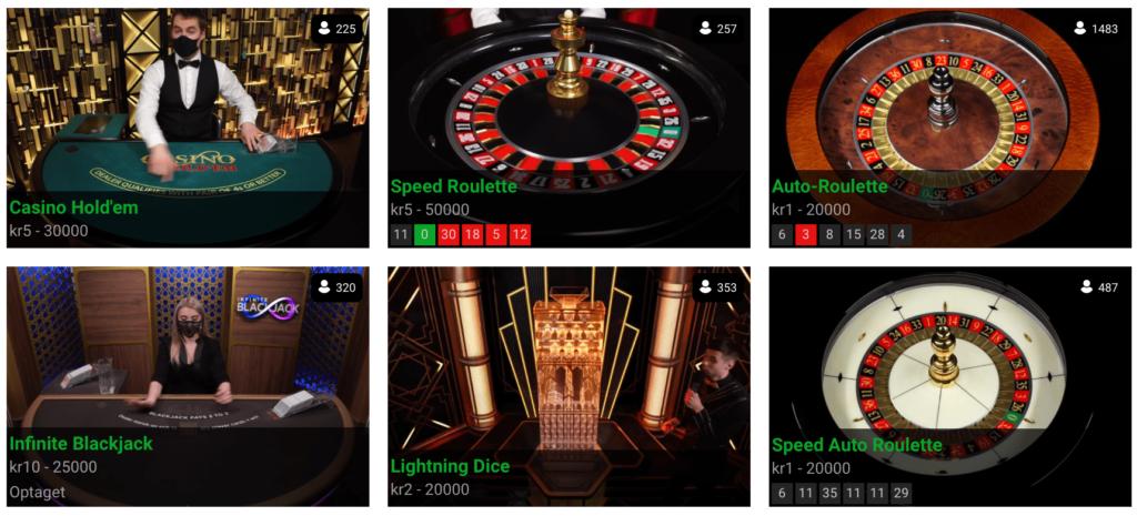Live casino på Jambocasino.dk