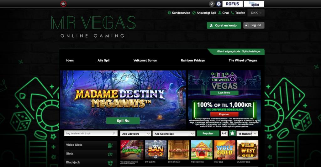 Mr Vegas Casino forside