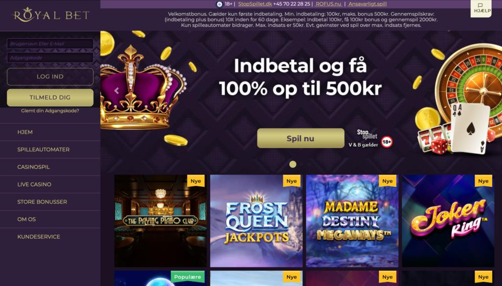 RoyalBet Casino forside