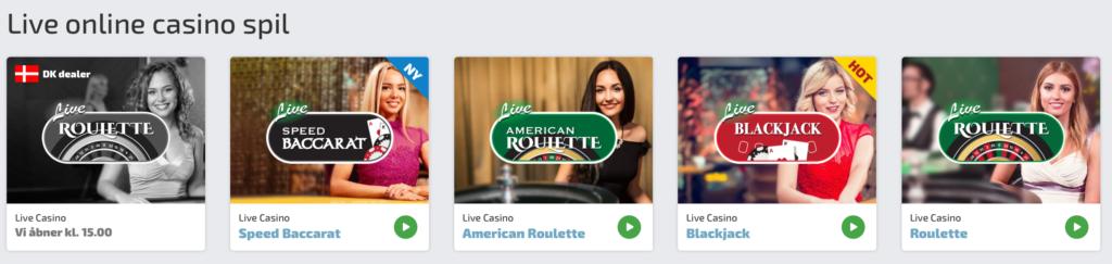 Spilnu live online casino