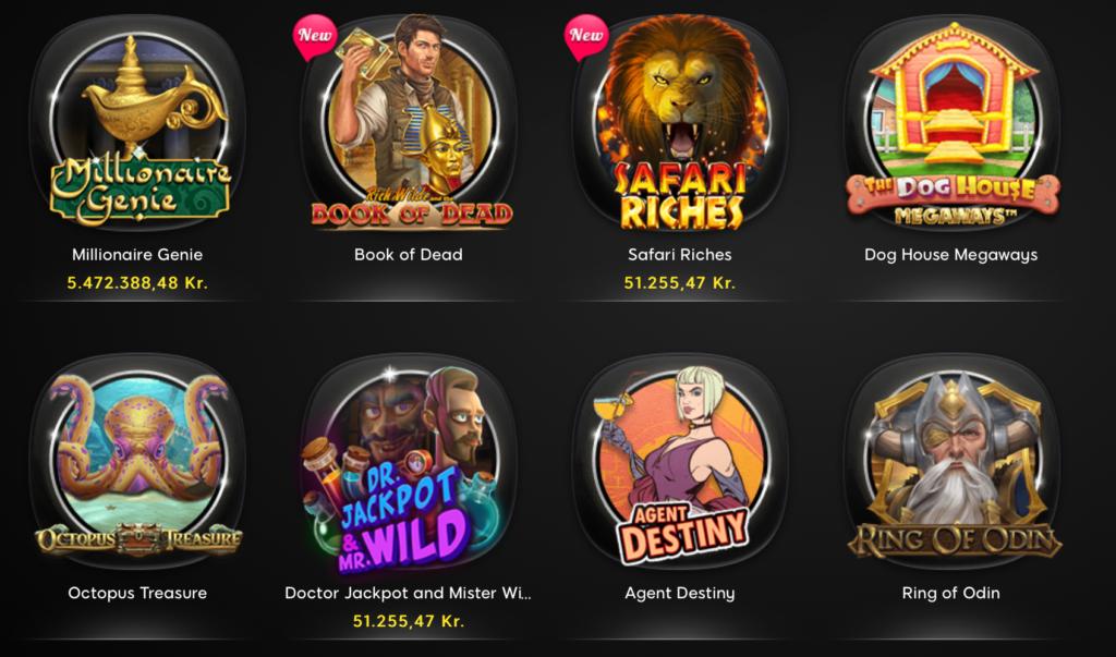Stort udvalg af spilleautomater