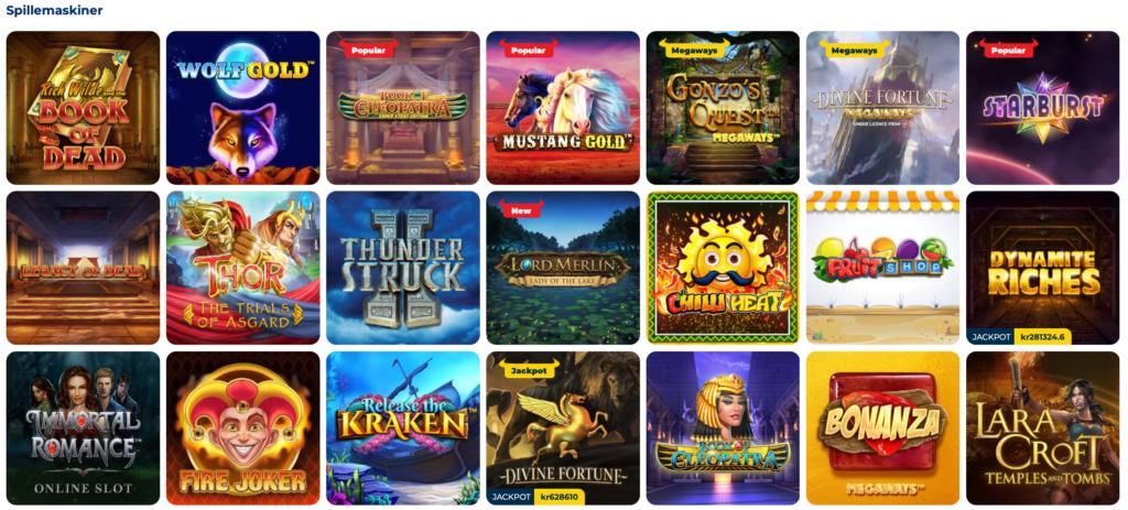 Stort udvalg af spillemaskiner