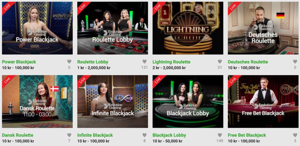 Unibet live casino udvalg