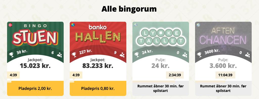 Bingorum hos Danske Spil Bingo