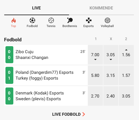LeoVegas Sport live betting