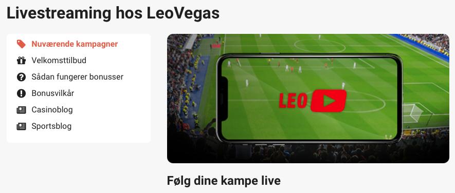 LeoVegas live stream af kampe