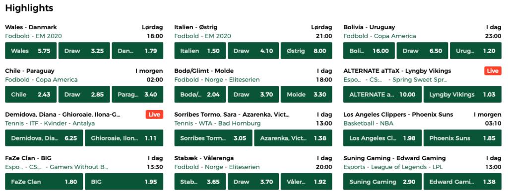 Stort udvalg af odds hos Mr Green Sport